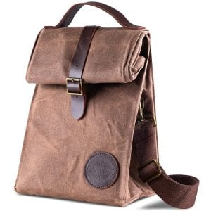 Waterproof Large Size Brown Paper Bag Styled Eco Friendly Lunch Box for Men Women /& Kids WEI CLASSIC Waxed Canvas Lunch Bag Durable