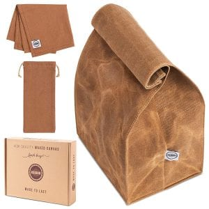Asebbo Large Waxed Canvas Lunch Bag